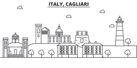 Italië, Cagliari-de horizonillustratie van de architectuurlijn. Lineaire vector stadsgezicht met beroemde bezienswaardigheden, bezienswaardigheden van de stad, ontwerp pictogrammen. Bewerkbare lijnen