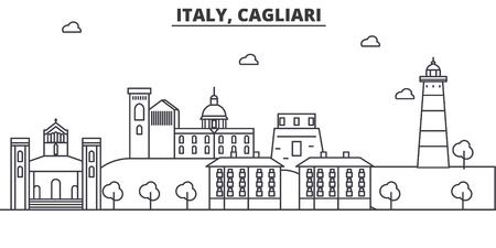 Italy, Cagliari architecture line skyline illustration. Linear vector cityscape with famous landmarks, city sights, design icons. Editable strokes