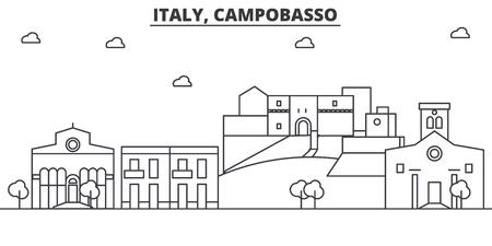 이탈리아, Campobasso 아키텍처 라인 스카이 라인 그림입니다. 선형 벡터 도시의 유명한 랜드 마크, 도시 명소, 디자인 아이콘. 편집 가능한 스트로크