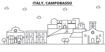 Italy, Campobasso architecture line skyline illustration. Linear vector cityscape with famous landmarks, city sights, design icons. Editable strokes