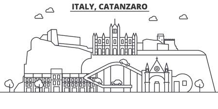 Italy, Catanzaro architecture line skyline illustration. Linear vector cityscape with famous landmarks, city sights, design icons. Editable strokes Illusztráció