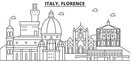 イタリア、フィレンツェの建築線スカイラインの図。有名なランドマーク、観光、デザイン アイコンと線形ベクトル街並み。編集可能なストローク  イラスト・ベクター素材