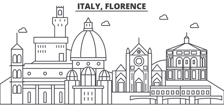 Italy, Florence architecture line skyline illustration. Linear vector cityscape with famous landmarks, city sights, design icons. Editable strokes 向量圖像
