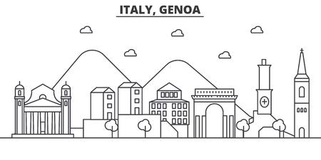 이탈리아, 제노아 아키텍처 라인 스카이 라인 그림입니다. 선형 벡터 도시의 유명한 랜드 마크, 도시 명소, 디자인 아이콘. 편집 가능한 스트로크 일러스트