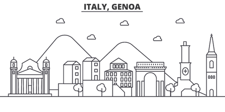 Italy, Genoa architecture line skyline illustration. Linear vector cityscape with famous landmarks, city sights, design icons. Editable strokes