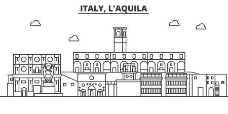 Italië, L aquila de horizonillustratie van de architectuurlijn. Lineaire vector stadsgezicht met beroemde bezienswaardigheden, bezienswaardigheden van de stad, ontwerp pictogrammen. Bewerkbare lijnen Stockfoto - 87743788