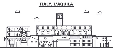 Italy, L aquila architecture line skyline illustration. Linear vector cityscape with famous landmarks, city sights, design icons. Editable strokes