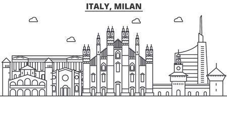 イタリア、ミラノの建築線スカイラインの図。有名なランドマーク、観光、デザイン アイコンと線形ベクトル街並み。編集可能なストローク