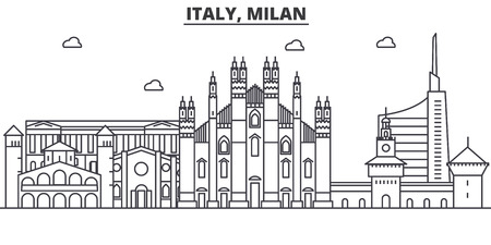 Italy, Milan architecture line skyline illustration. Linear vector cityscape with famous landmarks, city sights, design icons. Editable strokes