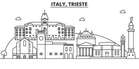イタリア、トリエステ建築線スカイラインの図。有名なランドマーク、観光、デザイン アイコンと線形ベクトル街並み。編集可能なストローク 写真素材 - 87743790