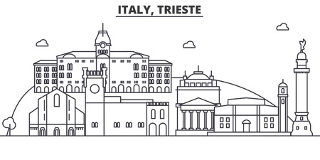 Italy, Trieste architecture line skyline illustration. Linear vector cityscape with famous landmarks, city sights, design icons. Editable strokes Иллюстрация