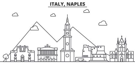 イタリア、ナポリ建築線スカイラインの図。有名なランドマーク、観光、デザイン アイコンと線形ベクトル街並み。編集可能なストローク