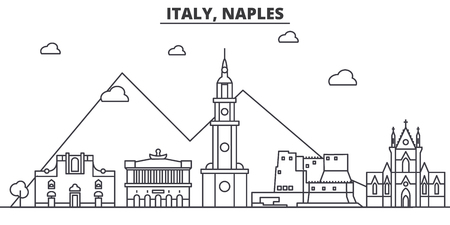 Italy, Naples architecture line skyline illustration. Linear vector cityscape with famous landmarks, city sights, design icons. Editable strokes