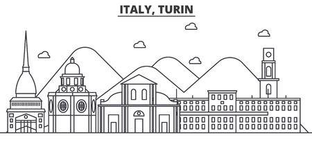 イタリア、トリノ建築線スカイラインの図。有名なランドマーク、観光、デザイン アイコンと線形ベクトル街並み。編集可能なストローク