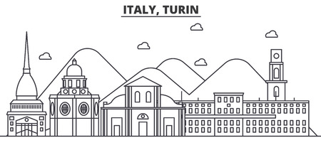 Italy, Turin architecture line skyline illustration. Linear vector cityscape with famous landmarks, city sights, design icons. Editable strokes
