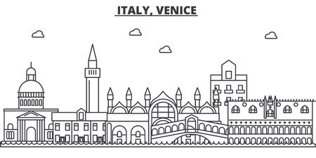 イタリア、ヴェネツィア建築線スカイラインの図。有名なランドマーク、観光、デザイン アイコンと線形ベクトル街並み。編集可能なストローク