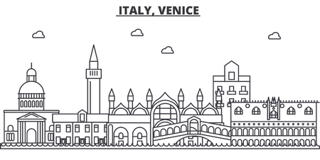 Italy, Venice architecture line skyline illustration. Linear vector cityscape with famous landmarks, city sights, design icons. Editable strokes