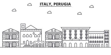イタリア、ペルージャ建築線スカイラインの図。有名なランドマーク、観光、デザイン アイコンと線形ベクトル街並み。編集可能なストローク
