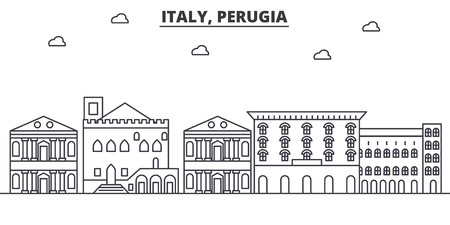 Italy, Perugia architecture line skyline illustration. Linear vector cityscape with famous landmarks, city sights, design icons. Editable strokes