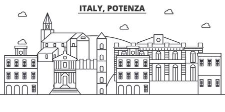 イタリア、ポテンザ建築線スカイラインの図。有名なランドマーク、観光、デザイン アイコンと線形ベクトル街並み。編集可能なストローク  イラスト・ベクター素材