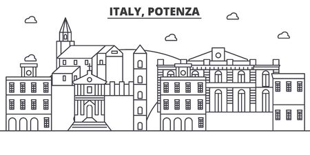 Italia, Potenza arquitectura línea horizonte ilustración. Paisaje urbano vector lineal con monumentos famosos, monumentos de la ciudad, iconos de diseño. Trazos editables