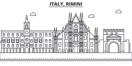 Italy, Rimini architecture line skyline illustration. Linear vector cityscape with famous landmarks, city sights, design icons. Editable strokes 向量圖像