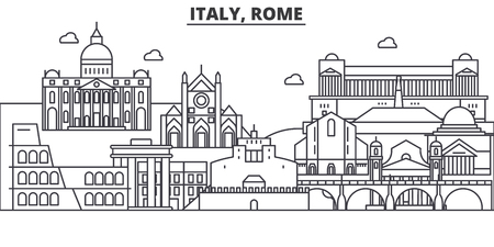 Italy, Rome architecture line skyline illustration. Linear vector cityscape with famous landmarks, city sights, design icons. Editable strokes