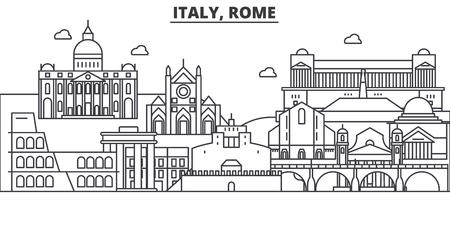 Italien, Rom-Architekturlinie Skylineillustration. Lineares Vektorstadtbild mit berühmten Sehenswürdigkeiten, Sehenswürdigkeiten der Stadt, Designikonen. Bearbeitbare Striche