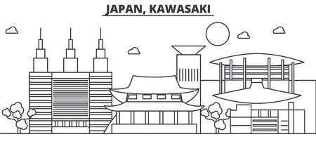 일본, 가와사키 아키텍처 라인 스카이 라인 그림입니다. 선형 벡터 도시의 유명한 랜드 마크, 도시 명소, 디자인 아이콘. 편집 가능한 스트로크