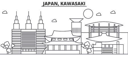 Japan, Kawasaki de horizonillustratie van de architectuurlijn. Lineaire vector stadsgezicht met beroemde bezienswaardigheden, bezienswaardigheden van de stad, ontwerp pictogrammen. Bewerkbare lijnen Stock Illustratie