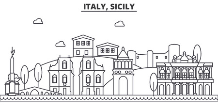イタリア、シチリア島建築線スカイラインの図。有名なランドマーク、観光、デザイン アイコンと線形ベクトル街並み。編集可能なストローク