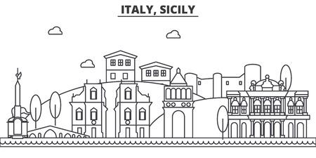 이탈리아, 시칠리아 건축 라인 스카이 라인 그림입니다. 선형 벡터 도시의 유명한 랜드 마크, 도시 명소, 디자인 아이콘. 편집 가능한 스트로크