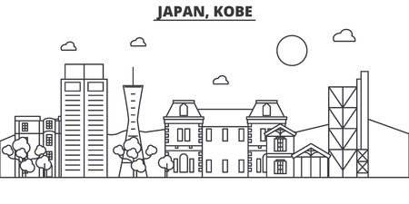 日本、神戸建築線スカイラインの図。有名なランドマーク、観光、デザイン アイコンと線形ベクトル街並み。編集可能なストローク  イラスト・ベクター素材