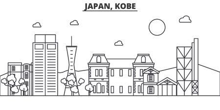 일본, 고베 건축 라인 스카이 라인 그림. 선형 벡터 도시의 유명한 랜드 마크, 도시 명소, 디자인 아이콘. 편집 가능한 스트로크