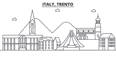 Italy, Trento architecture line skyline illustration. Linear vector cityscape with famous landmarks, city sights, design icons. Editable strokes