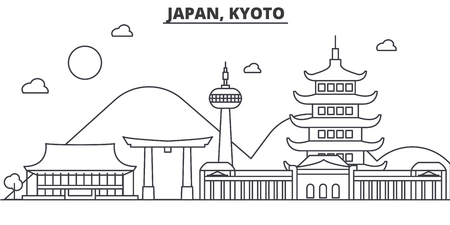 Japan, Kyoto architecture line skyline illustration. Linear vector cityscape with famous landmarks, city sights, design icons. Editable strokes Иллюстрация