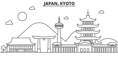 Japan, Kyoto-de horizonillustratie van de architectuurlijn. Lineaire vector stadsgezicht met beroemde bezienswaardigheden, bezienswaardigheden van de stad, ontwerp pictogrammen. Bewerkbare lijnen Vector Illustratie