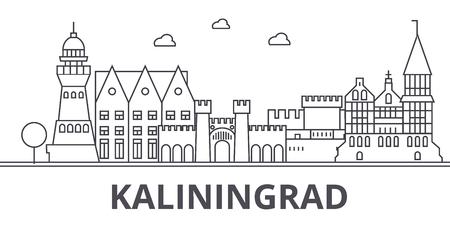 Kaliningrad architecture line skyline illustration. Linear vector cityscape with famous landmarks, city sights, design icons. Editable strokes