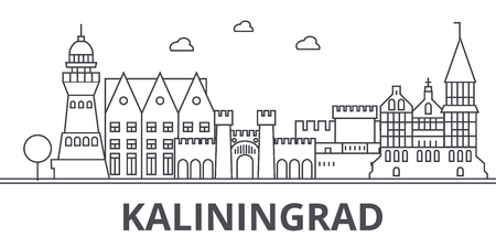 Kaliningrad architecture line skyline illustration. Linear vector cityscape with famous landmarks, city sights, design icons. Editable strokes