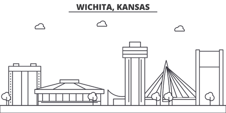 Kansas, Wichita architecture line skyline illustration. Linear vector cityscape with famous landmarks, city sights, design icons. Editable strokes