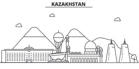 カザフスタン建築線スカイラインの図。有名なランドマーク、観光、デザイン アイコンと線形ベクトル街並み。編集可能なストローク  イラスト・ベクター素材