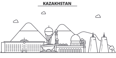 Kazakhstan architecture line skyline illustration. Linear vector cityscape with famous landmarks, city sights, design icons. Editable strokes 向量圖像