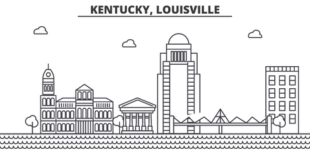 ケンタッキー州ルイビル建築線スカイラインの図。有名なランドマーク、観光、デザイン アイコンと線形ベクトル街並み。編集可能なストローク