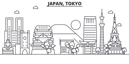 De horizonillustratie van Japan, Tokyo van de architectuurlijn. Lineaire vector stadsgezicht met beroemde bezienswaardigheden, bezienswaardigheden van de stad, pictogrammen van het ontwerp. Bewerkbare lijnen Stock Illustratie
