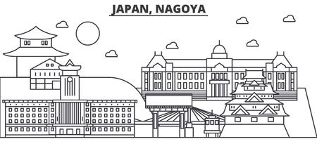 日本、名古屋建築線スカイラインの図。有名なランドマーク、観光、デザイン アイコンと線形ベクトル街並み。編集可能なストローク  イラスト・ベクター素材
