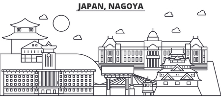 Japan, Nagoya architecture line skyline illustration. Linear vector cityscape with famous landmarks, city sights, design icons. Editable strokes