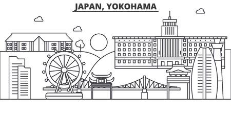 日本、横浜建築線スカイラインの図。有名なランドマーク、観光、デザイン アイコンと線形ベクトル街並み。編集可能なストローク  イラスト・ベクター素材