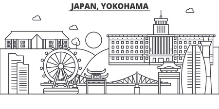 Japan, Yokohama architecture line skyline illustration. Linear vector cityscape with famous landmarks, city sights, design icons. Editable strokes Illustration