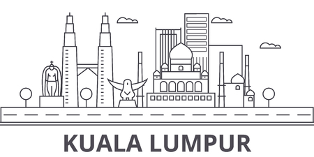 クアラルンプール マレーシア建築線スカイラインの図。有名なランドマーク、観光、デザイン アイコンと線形ベクトル街並み。編集可能なストロー