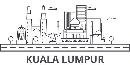 Linha ilustração da arquitetura de Kuala Lumpur Malaysia da skyline. Arquitectura da cidade linear do vetor com marcos famosos, vistas da cidade, ícones do projeto. Traços editáveis